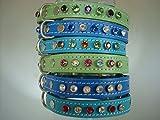 Swarovski Kristall Elements Leder Hundehalsband Design your own 9Choices von Crystal 4Größen von Halsband 3Farben türkis pistazie grün oder blau über 100Kombinationen