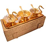 PUNIX - Handcrafted Two-Tone Golden & Silver Double Duck Bowl 7 Pieces Set Of 2 Duck Bowl, 1 Bowl, 3 Spoon And 1 Tray With Gift Box Best Choice For Gifting