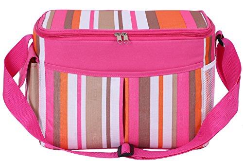 risunny 15L Cool Borsa termica pranzo borsa a tracolla per uomini e donne Pink Stripe