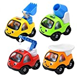 AOLEVA Mini 4 Pcs Cartoon Construction Team Vehicle Push and Go Engineering Truck Toy Set For Toddlers Kids Boys Baby (Packing May Vary)