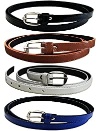 Glamio Girl's PU Leather Belts Combo of 4 (Black,Brown,White & Blue)(GLA/WOMENBELTS/BKBRWHBLU)