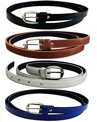 Glamio Girl's PU Leather Belts Combo of 4 (Black,Brown,White & Blue)(GLA/WOMENBELTS/BKBRWHBLU)