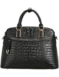 Dissa Q0514,femme noir véritable de modèle de sac à main en cuir 36x26x14 cm (B x H x T)