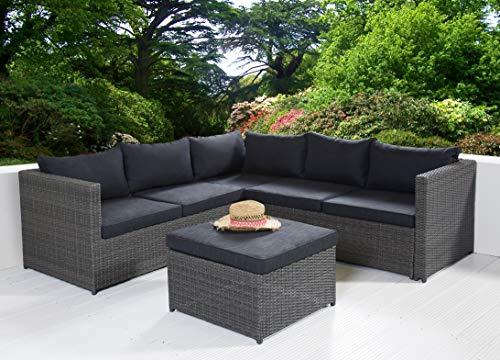 POLY RATTAN Sitzgruppe Sofa Lounge Set grau - 2