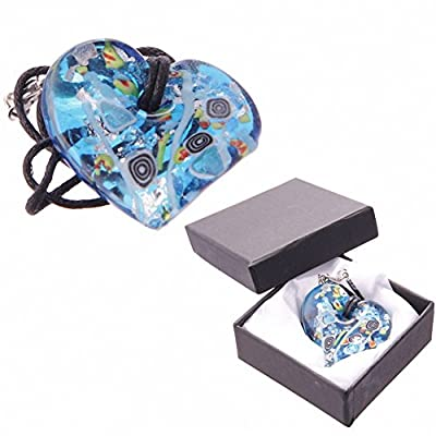 Heart Shaped Vivid Glass Necklace with Gift Box