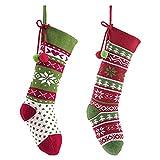 Valery Madelyn Calze di Natale Decorazioni Calze lavorate a Maglia Nicholas Stivale per riempire e Appendere Calze Natalizie per caminetto Decorazioni Natalizie Verde Rosso 32cm (Set di 2)