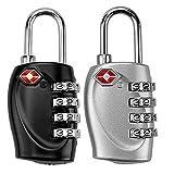 2 x Kofferschloss TSA Schloss mit 4 Ziffern für Reisen in Schwarz und Silber