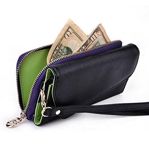 Kroo d'embrayage portefeuille avec dragonne et sangle bandoulière pour Xolo LT900/Q500s IPS Smartphone Multicolore - Green and Pink Multicolore - Black and Purple