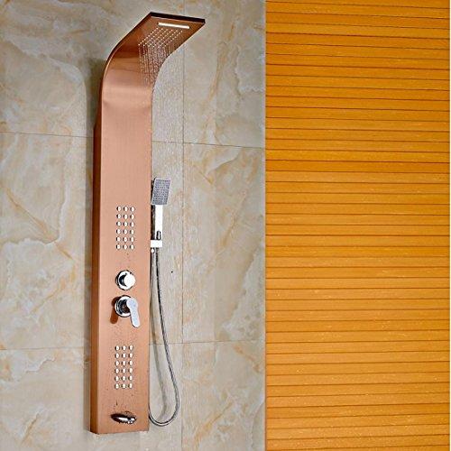 Hand-jet-massage-system (AllureFeng Edelstahl Niederschlag Panel Wand montierten Massage System Brausebatterie mit Jets mit Hand Dusche Tower Duschsäule)