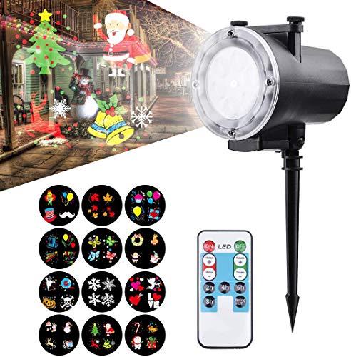 Viugreum LED Projektionslampe Projektor Lampe Nachtlicht Kinder Wandbeleuchtung Garten Beleuchtung Wasserdicht Super Helle LED Effektlicht mit 12 Ersetzbaren Motiven,Karneval, Festen und Dekoration