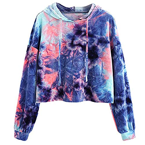 Frauen Printed Long Sleeve Short Sweatshirt Herbst Hoodies Tops Bluse- Damen Kapuzenpullover locker Langarm Hoodie Jacke Bluse Top-Drucken Pullover Kapuzen-Pullover Tops Bluse(Blau,L)