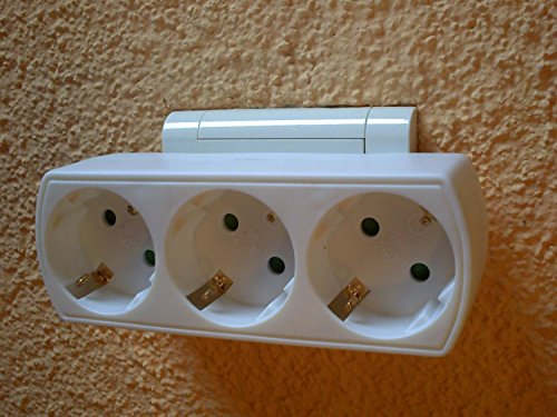 SolPortalHome 220/250V 16A Weiß Multiverbindung Dreifachverbindung T. T. 1-to-3 Steckdose 3fach-Outlet Tap