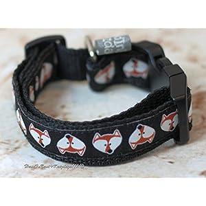 Hundehalsband Füchse in Schwarz klein
