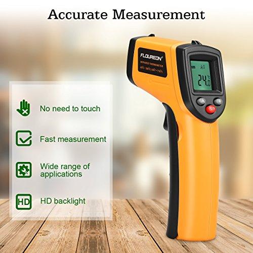 Floureon Laser Infrarot Thermometer IR Pyrometer berührungslos Temperaturmessgerät Temperaturmesser, -50 bis +380°C mit LCD Beleuchtung ±1.5°C Genauigkeit