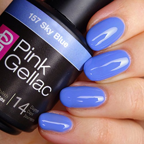 Vernis à ongles Pink Gellac 157 Sky Blue. 15 ml gel Manucure et Nail Art pour UV LED lampe, top coat résistant shellac