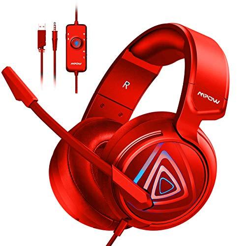 Mpow Gaming PC Headset EG8, 50MM- Neodym-Treiber /Stereo Over-Ear-Kopfhörer mit Mikrofon xbox one Gamimg Headset LED Gaming Headset mit Linie-Steuerung Gaming PC Headset für PS4 Nintendo Switch