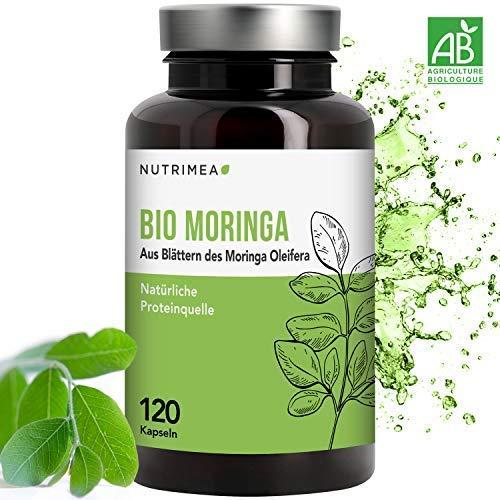 Moringa Kapseln BIO Hochdosiert - Zertifizierte BIO-Qualität - 100% Reines Moringa Oleifera Blatt-Pulver - 4 Monatsvorrat Natürliche Proteinquelle & Vitamine für Veganer - SUPERFOOD Energy & Vitalität -