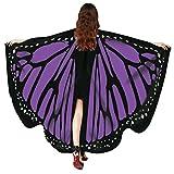 FNKDOR Fasching Kostüm Schmetterling Damen Mädchen Flügel Fee Nymphe Elfen Flügel (168 * 135CM, Violett-C)