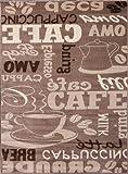 Kaffee Design Teppich Trendig, verschiedene Schriftarten und Muster in Beige ideal für die Lounge oder Küche – ÖKO TEX Zertifiziert, Maße:80×150 cm - 4