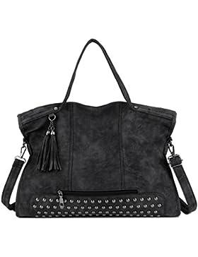 Albeey Taschen Damen Damentasche Handtasche Schultertasche Umhängetasche Tasche groß Nieten Handtasche