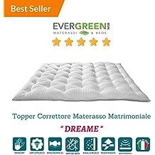 EvergreenWeb–Futón colchón matrimonio, acolchado tela ergonómico y Avvolgente, excelente como cama Salvaspazio, o como práctico Topper colchón 160x 200Col. Blanco–pillowt