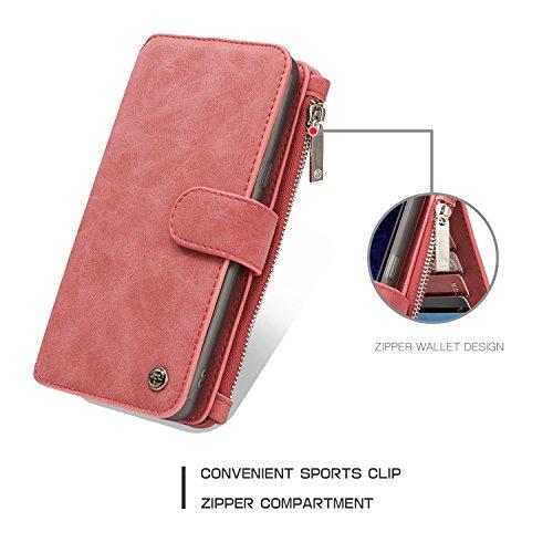 SDDMALL Wallet Case, CaseMe Abnehmbare Premium Leder Tasche, 13 Card Slots, 1 Foto Frame Zipper Magnetische Abdeckung für Samsung Galaxy S8 Plus ( Color : Black ) Red