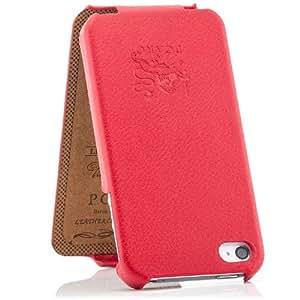 Pcaro Étui de protection pare-chocs en cuir véritable et à rabat fin pour iPhone 4 & 4S avec Film protecteur d'écran Rouge