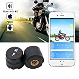 Teepao sans fil moniteur de pression de pneu pour moto, étanche Digital Moteur téléphone Pneu TPMS Système de surveillance Bluetooth App Display–avec 2capteurs externes