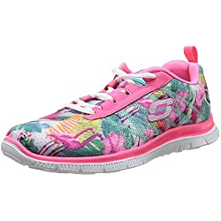 Skechers Flex Appeal Floral Bloom Pink Multi Womens Trainers Shoes-3