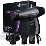 2100 Watt Powerful Professional Hair Dryer, Negative Ionic Ceramic & Far Infrared Heat Hairdryer , Low Noise Blow Dryer with Diffuser & Comb Attachments - Grey