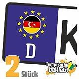 Deutsch-Türkisch Kennzeichen Aufkleber Sticker Nummernschild Land Country Nation