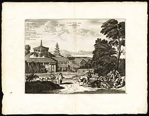 ThePrintsCollector Rare Carte Antique Motif Japon-Temple-Saccai-vache/chèvre-Chien-Montanus Van Der 1725–Aa