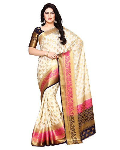MIMOSA Art Silk Saree With Blouse Piece(4133-266-3D-Hwt_Off White Free Size)
