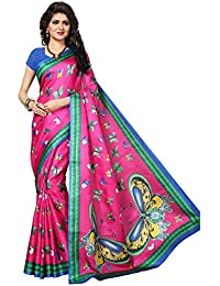 Ishin Poly Silk Pink Printed Women's Saree/Sari With Tassels