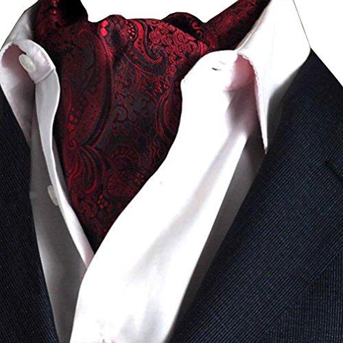 NiSeng Jacquard Ascot Paisley Corbatas Estrechas Ascot Corbata Vintage Ascot Cravat para Hombre Multicolor Vino Rojo#4