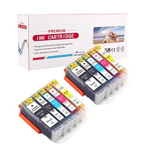 10-Pack Canon PGI-550 CLI-551 XL Cartouche d'encre compatible (2xGrand-Noir, 2x Petit-Noir, 2x Cyan, 2xMagenta, 2xJaune) avec puce pour Canon Pixma Ip7250 iP8750 iX6850 MG5450 MG5550 MG6350 MG6450 MG7150 MX725 MX925 imprimante