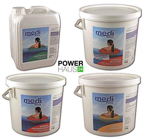 Medipool MEGA Spar-Pack 20 kg Poolpflege Set Chlor für große Schwimmbecken Chlorgranulat, Multi-Chlortabletten, Algenschutz und pH-Plus Granulat