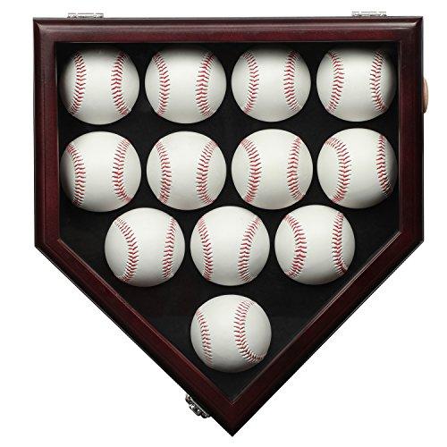 12 Baseball Display Case Gehäuse mit abschließba UV Schutz, Case Halter Shadow Box Wand Schrank-UV-Mahagoni,Vitrinen Schrank Shadow Box