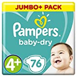 Pampers - Baby Dry - Couches Taille 4+ (10-15 kg) - Jumbo+ Pack (x76 couches)