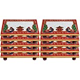 White Box Marble Puja Chowki Set Of 10 For Gift Item :- 6x4 Inch