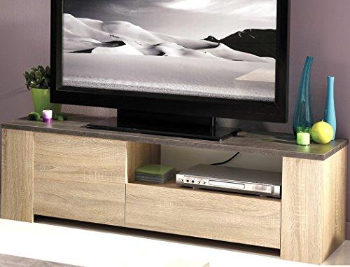Lowboard Fumio 2 Eiche natur Nachbildung Steinoptik 138x41x40cm TV-Möbel Wohnzimmer Wohnwand Schrankwand - 2