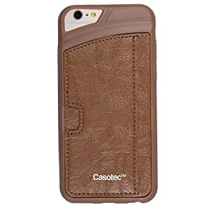 Casotec New Retro Style Soft TPU Leather Back Case Cover for Apple iPhone 6 / 6S (4.7 inches) - Brown