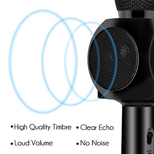 Drahtlose Bluetooth Karaoke Mikrofon Lautsprecher HURRISE Echo Rauschunterdrückung Mikrofon mit Aufnahme von Sprach für Smartphone iPad PC (Schwarz) - 3