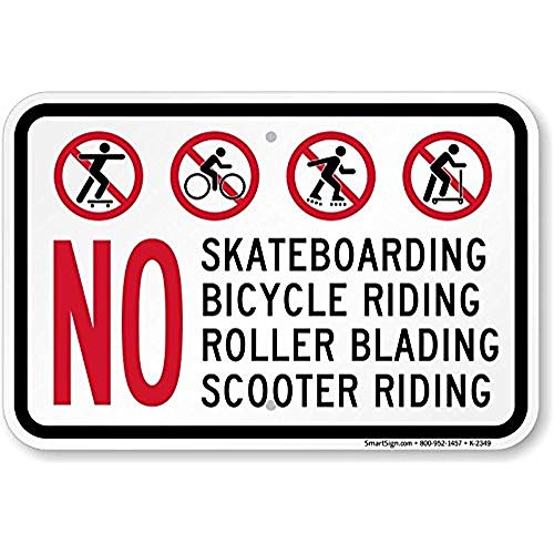 HNNT Aluminum Metal Sign 12x16 INCHES New MySecuritySign No - Skateboarding, Bicycle Riding, Roller Blading, Scooter Riding (with Symbols) Tin Sign Street Sign