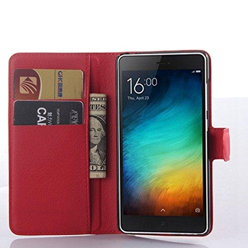 Tasche für Xiaomi Mi 4C Hülle, Ycloud PU Ledertasche Flip Cover Wallet Case Handyhülle mit Stand Function Credit Card Slots Bookstyle Purse Design rote