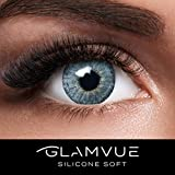 GLAMVUE SILICONE SOFT Mauritius Blue + Behälter I Sehr Stark deckende blaue natürliche Kontaktlinsen farbig I 1 Paar (2 Stück) I DIA 14.00 I ohne und mit Stärke