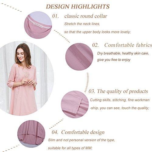 QianXiu schlafanzüge Herbst nachtwäsche frauen Nachthemd modal nachtzeug freizeit nachthemd weiches nachthemd Pink