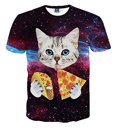 yonbii Katze Essen Taco 3D Print kurzärmeliges T-Shirt Unisex Kleidung T-Shirts Gr. S (Asiatisch größe ), (Taco Anzug)