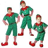 GSDZN - Disfraz De Duende Navideño para Niños De Navidad para Niño/Niña, Adecuado para Niños De 80-180 Cm De Altura,A-110cm