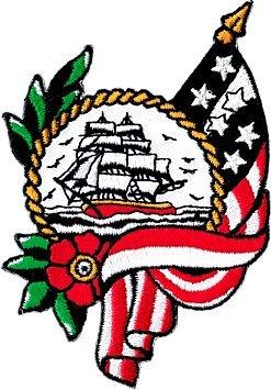 Segelschiff mit Möwen und USA Flagge mit Kranz Aufnäher Bügelbild Aufbügler